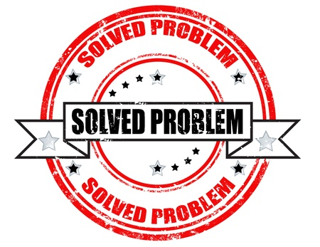 Grunge rubber stamp with text solved problem inside Vector