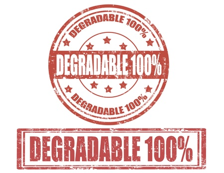 degradable: Set of grunge rubber stamps with word degradable inside