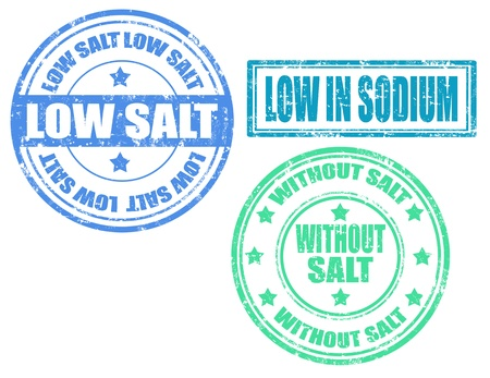 salt free: Set of grunge rubber stamp with text low salt inside