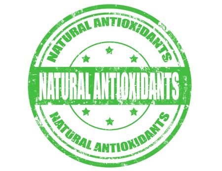 antioxidants: Grunge rubber stamp with text Natural antioxidants inside