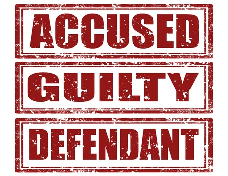 defendant: Set of grunge rubber stamps with words accused,guilty and defendant