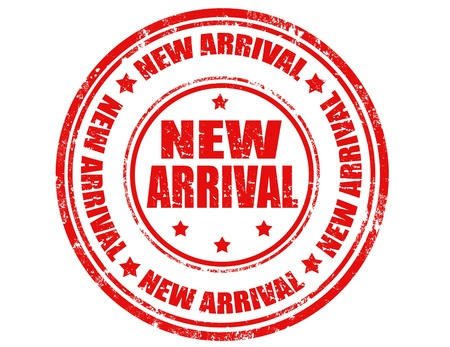 new arrival: Grunge rubber stamp with text new arrival inside