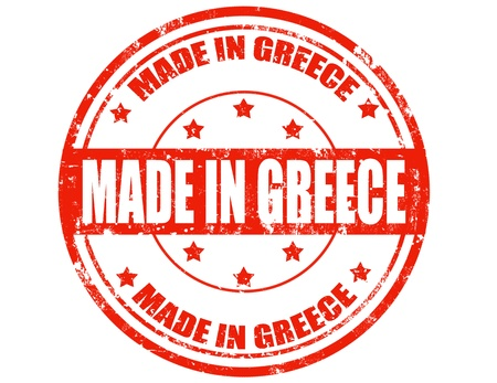 made in greece stamp: Grunge rubber stamp with text Made in Greece