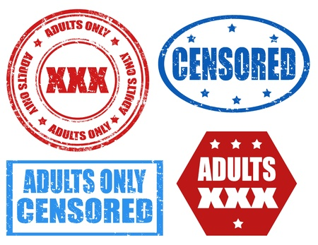 censored: Set of grunge rubber stamps with text Adults only