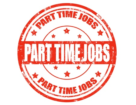 part time: Grunge rubber stamp with text Part time jobs inside