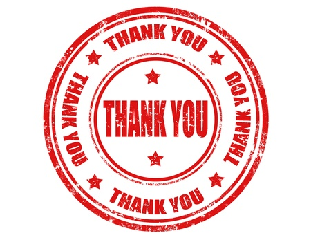 Grunge rubber stamp with text Thank you inside Vector