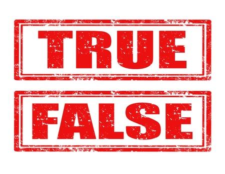 false: Set of grunge rubber stamps with words True and False Illustration