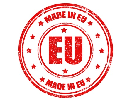 made in spain: Grunge rubber stamp with text Made in EU