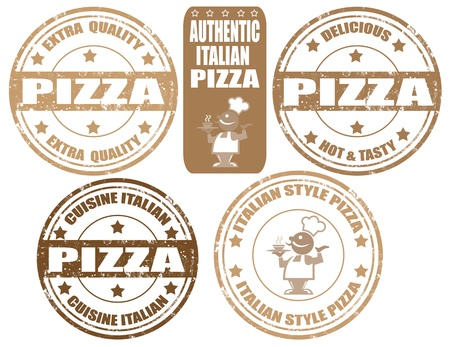 Set of grunge rubber stamps with word Pizza inside Vector