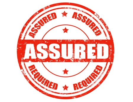 assured: Grunge sello de goma con la palabra asegurada dentro