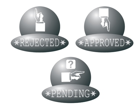 pending: Rejected,approved and pending buttons,vector illustration