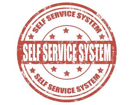 Grunge sello de goma con el texto del sistema de autoservicio Ilustración de vector
