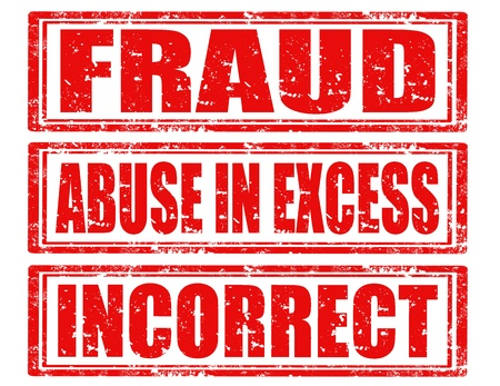 excess: Set of grunge rubber stamps with text Fraud,Incorrect and Abuse in excess,vector illustration