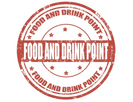 Grunge food and drink point  rubber stamp, vector illustration Vector