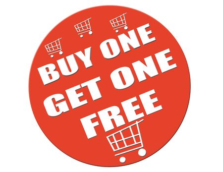 get one: Label with text Buy one get one free