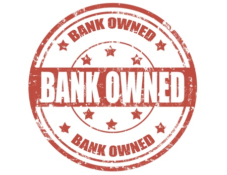 bank owned: Grunge rubber stamp with text Bank owned