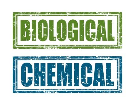biological: Set of grunge rubber stamp with word Biological and Chemical inside, illustration Illustration