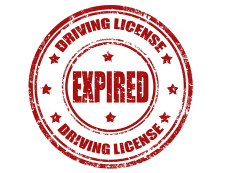 Grunge sello de goma con el texto de la licencia de conducción y expiró, ilustración