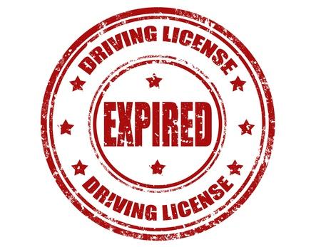Pieczątka grunge z tekstem licencji Driving i wygasła, ilustracji