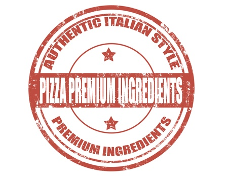Grunge rubber stamp with text Pizza premium ingredients, illustration Vector