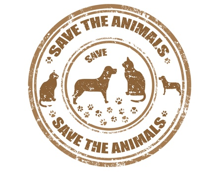 Grunge rubber stamp with text Save the animals, illustration Stock Vector - 21260466
