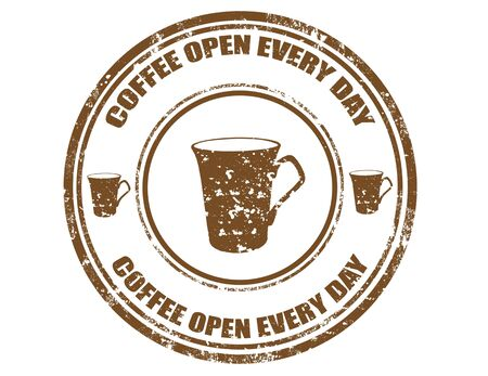 every: Grunge rubber stamp with text Coffee open every day,vector illustration