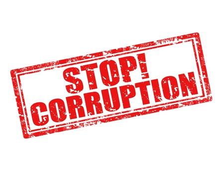 Grunge sello de goma con el texto Stop Corrupción