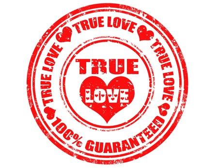 true love: Grunge rubber stamp with text True Love