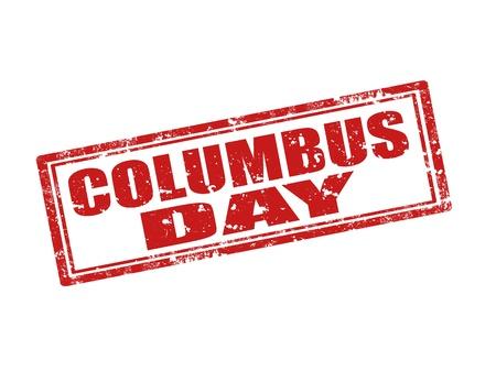colonisation: Grunge timbro di gomma con il testo Columbus Day