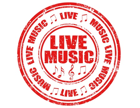 Grunge rubber stamp with text Live Music,vector illustration