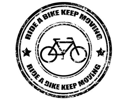 Grunge rubber stamp with text Ride A Bike Keep Moving,vector illustration Vector