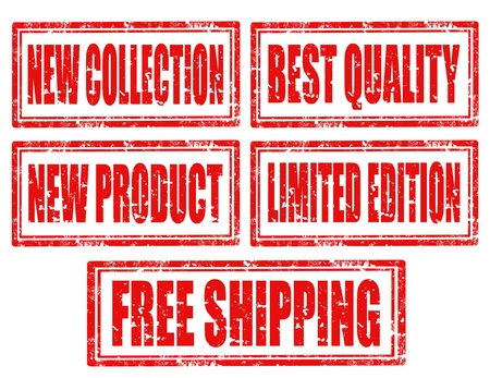 Set of grunge rubber stamp with text New Collection,New Product,Best Quality,Limited Edition and Free Shipping,vector illustration Vector