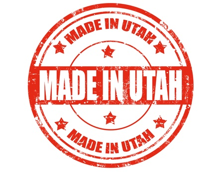 Grunge rubber stamp with text Made in Utah,vector illustration