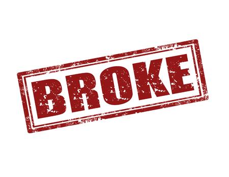 broke: Grunge rubber stamp with word Broke,vector illustration