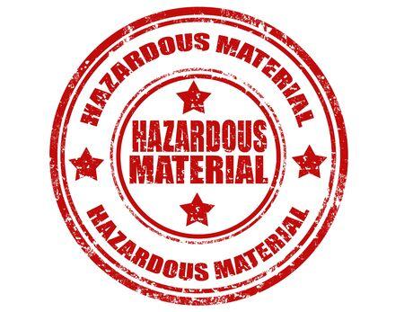 hazardous: Grunge timbro di gomma con il testo dei materiali pericolosi, illustrazione vettoriale Vettoriali