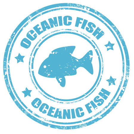 oceanic: Grunge rubber stamp with text Oceanic Fish