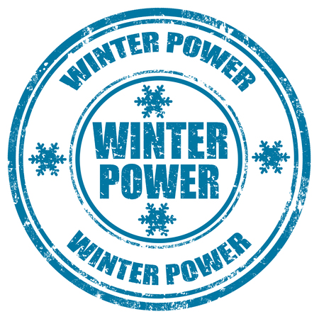 Abstract grunge rubber stamp with the word Winter Power guarantee written inside the stamp Vector