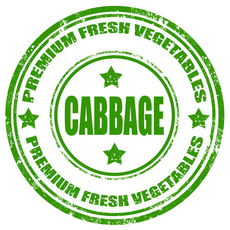 Grunge rubber stamp with text Cabbage-Premium Fresh Vegetables, illustration