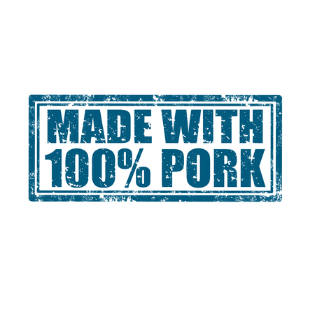 Grunge rubber stamp with text Made with 100  Pork, illustration Vector
