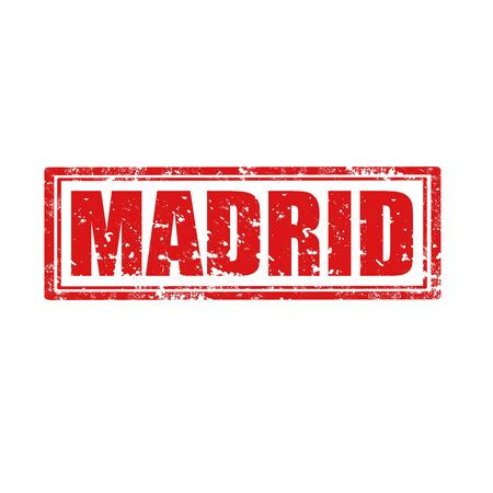Grunge rubber stamp with word Madrid, illustration Stock Vector - 22457507
