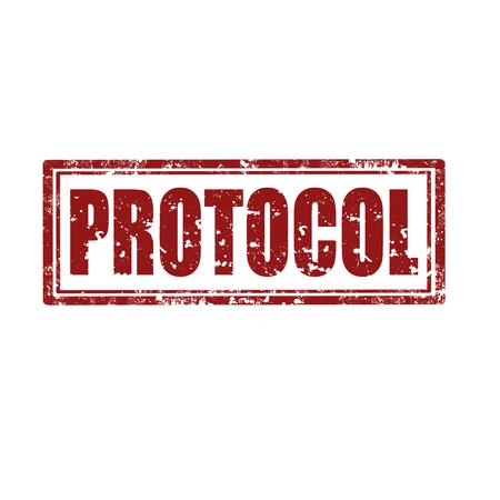 protocol: Grunge rubber stamp with word Protocol, illustration Illustration