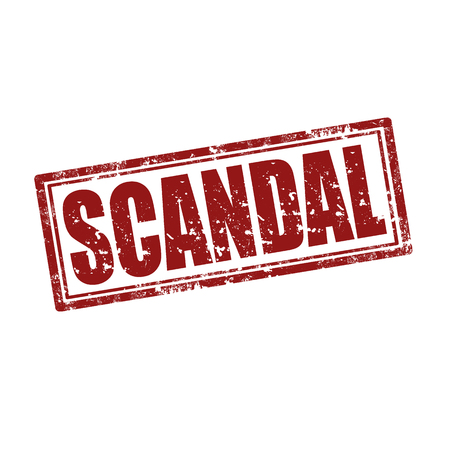scandal: Grunge rubber stamp with word Scandal, illustration