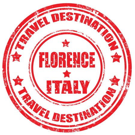 Grunge rubber stamp with text Florence-Travel Destination, illustration Stock Vector - 22457349
