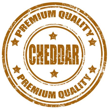 cheddar: Grunge rubber stamp with word Cheddar, illustration Illustration