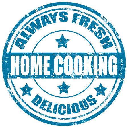 hausmannskost: Grunge Stempel mit dem Text Home Cooking