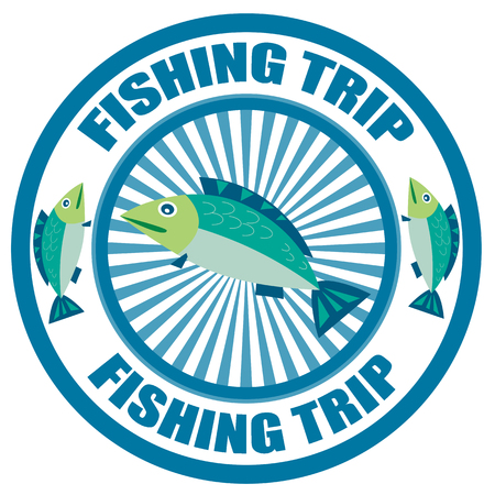 Label with text Fishing Trip Vector