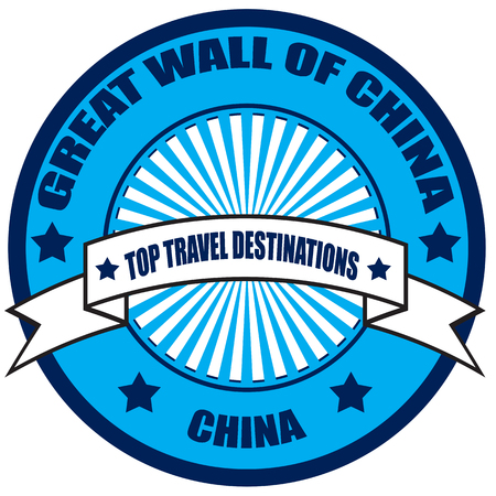 great wall of china: Label with text Top Travel Destinations-China Illustration