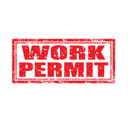 autoriser: Tampon en caoutchouc grunge avec le texte de permis de travail