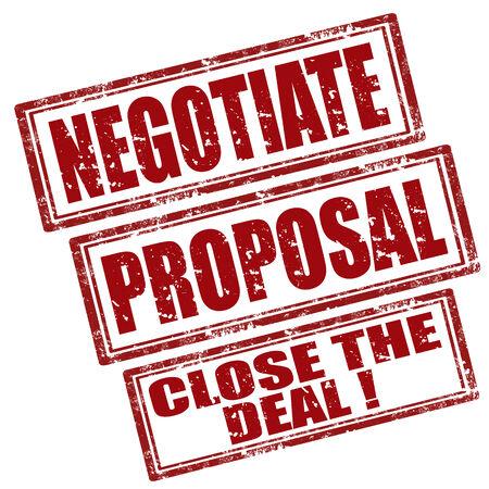Set von Grunge Stempel mit Wort verhandeln, Vorschlag und Text Schließen Der Deal, Vektor-Illustration