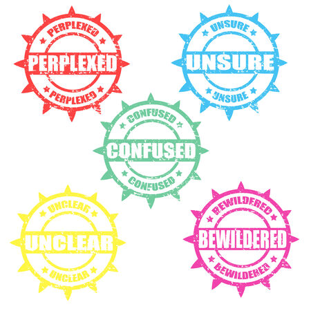 unclear: Set of grunge rubber stamps with words Perplexed,Unsure,Confused,Unclear and Bewildered,vector illustration